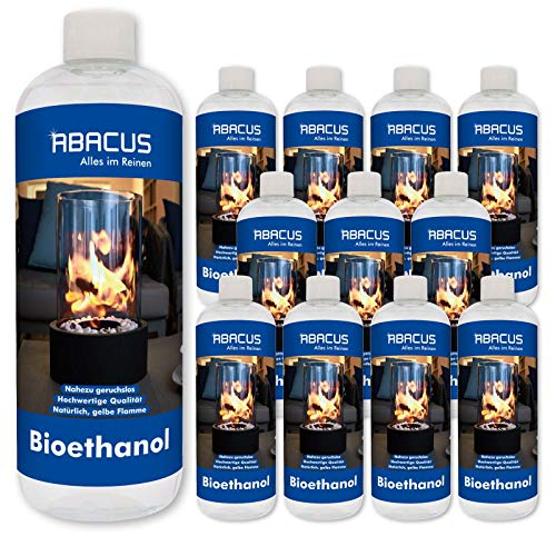 ABACUS 12x 1000 ml BIOETHANOL- Bio-Flamme Brennstoff Alkohol Brennalkohol Brennspiritus Spiritus Lampenbrennstoff Bio-Ethanol für Tischkamine (7069)