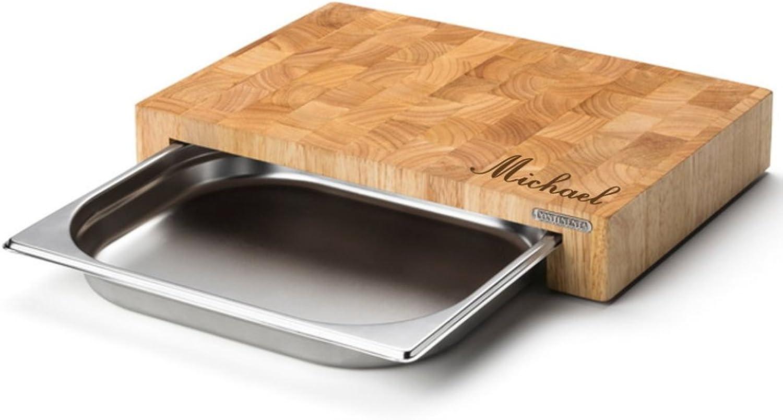 Continenta Schneidebrett MIT Gravur (z.B. Namen) Küchenbrett aus Stirnholz Stirnholz Stirnholz mit Edelstahl Schublade Maße  39 x 27 x 6 cm Holz-Brettchen B07DDHFFDR a3cf4a
