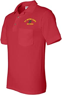 U.S. Marine Corps Eagle Globe and Anchor Retired Pocket Polo
