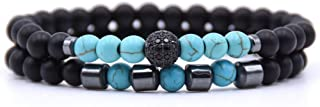 HMKLN 2Pcs/Set Bracelet 6Mm Black Natural Stone Beads Cz Ball Hematite Beaded Bracelet For Men Women Love Jewelry Bracelets