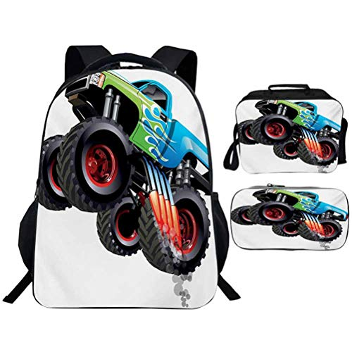 3D Printing School Bag Backpack with Pencil Case Lunchbox Cars Cartoon Monster Truck Cool