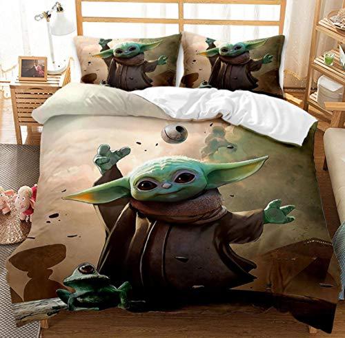 Vscdye Star Wars Baby Yoda Set di Biancheria da Letto 3D Tessili per La Casa Set di Biancheria da Letto Matrimoniale Singola con Letto Matrimoniale Copripiumino Federe135X200Cm