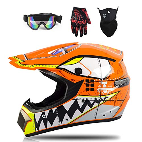 Kinder Motocross Cross Helm MTB BMX MX ATV Enduro Sport Helm, inklusive Motocrosshelme, Brillen, Maske, Handschuhe,Orange,L