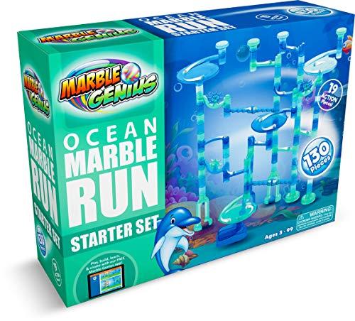 Marble Genius Marble Run Ocean Starter Set - 130 Complete Pieces + Free Instruction App (80 Translucent Marbulous Pieces + 50 Glass Marbles)