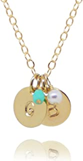 EFYTAL Two Initial Necklace & Birth Month Charms, Tiny Gold Filled 2 Personalized Discs for Mom