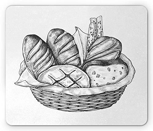 Houtskool Grijs muismat, Digitaal Gegenereerd Potlood Gekleurde Illustratie van Verschillende Brood Soorten in een Mand, Rechthoek Antislip Rubber Mousepad