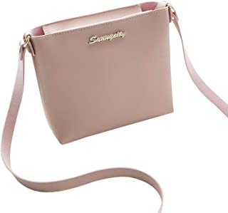 Wultia - Woman Mini Small Messenger Bag Crossbody Shoulder Bag Phone Purse Wallet PU Leather Case Casual Mobile Phone Bag for iPhone Pink