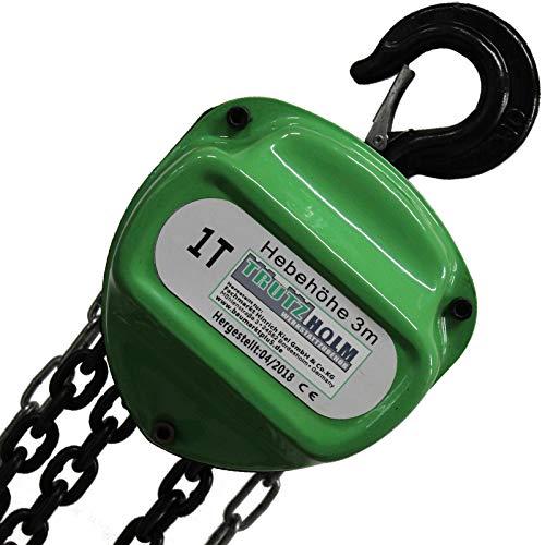TrutzHolm® Flaschenzug Seilzug Kettenzug Hebezug Ratschenzug 1000 kg / 1 t Tragkraft - 3000 mm / 3 m Hubhöhe - HSC - Triangel