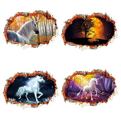 4 Juegos de Pegatinas de Pared Acuarela Unicornio Creativo Pegatinas de Pared Pegatinas habitación de los niños Sala de Estar Dormitorio decoración Pintura 1
