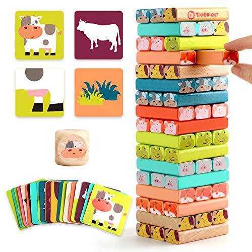 TOP BRIGHT Wackelturm Kinderspiel ab 3 Jahren, Stapelturm Holz Spielzeug Brettspiel, Holzspielzeug für 3 4 5 Jahren Jungen und Mädchen Geschenke
