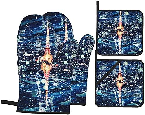 Romance-and-Beauty Juegos de Porta ollas y Manoplas para Horno Vista Nocturna de la Torre de Tokio Juegos de Guantes y Porta ollas de Cocina de 4, Divertidos Guantes para Hornear Antideslizantes resi