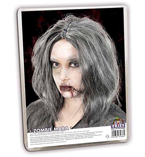 Fasching Karneval Zombie Mara Perücke grau Langhaar Halloween