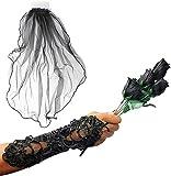 Robelli Handschuhe, künstlicher Rosenstrauß, schwarzer Schleier und Fingerschlaufe, schwarz