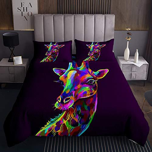 Homemissing Colcha de jirafa con diseño de animales zoológico para niños y niñas, colorido estampado safari, juego de edredón con 2 fundas de almohada, 3 piezas para cama king
