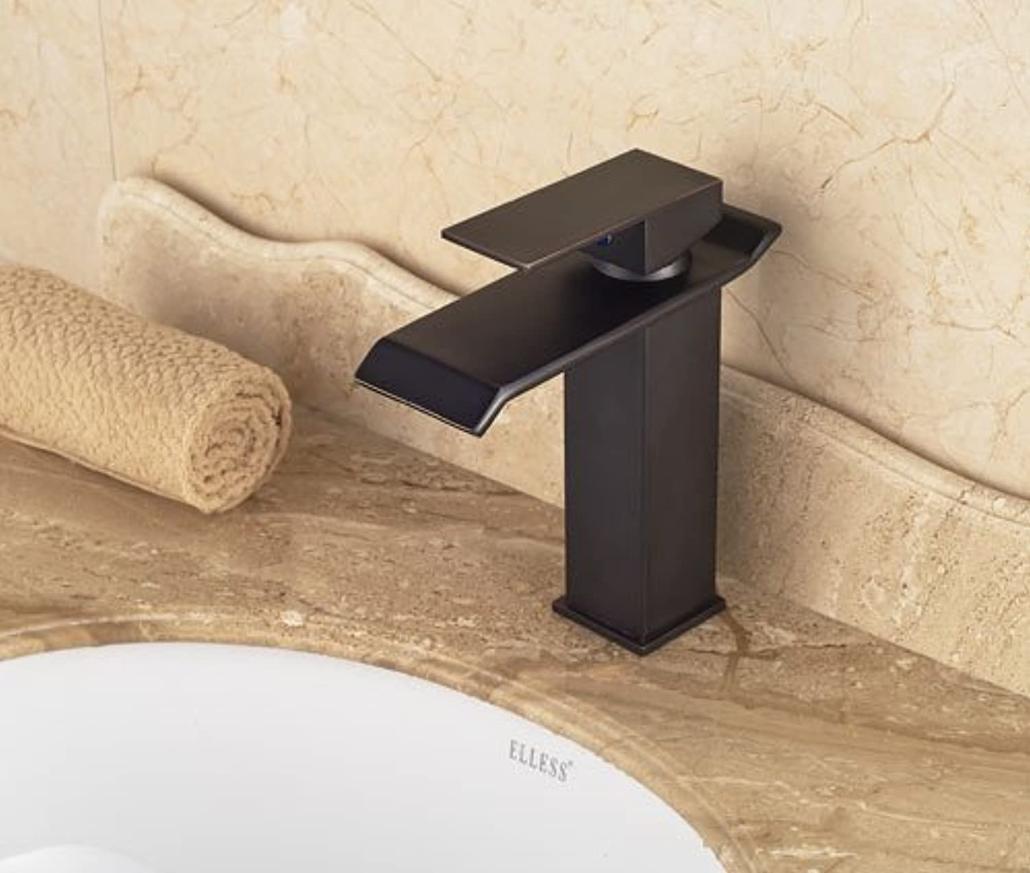 Tourmeler New Traditional Style Oil Rubbed Bronze Waterfall Bathroom Basin Faucet Single Handle Mixer Tap