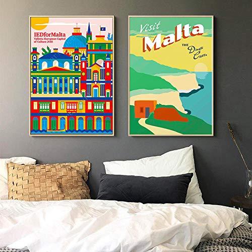 cgsmvp Südeuropa Mittelmeer Malta Valletta Reiseplakat Leinwand Malerei Poster Wand Wohnkultur Geschenke/50x70cmx2Pcs-kein Rahmen