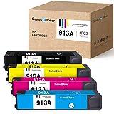 SWISS TONER - Cartucho de tinta compatible con HP 913A 913, para HP PageWide MFP 377dw 477dw 477dn 552dw Pro 377dn 352dn 452dw 452dn Managed P55250dw P57750dw (negro, cian, magenta y amarillo)