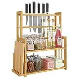 HOMECHO Bambus Gewürzregal Küchenregal mit 3 Etagen Gewürz-Ständer für Küche mit Messerhalter...