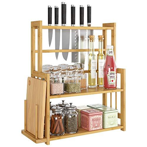 HOMECHO Bambus Gewürzregal Küchenregal mit 3 Etagen Gewürz-Ständer für Küche...