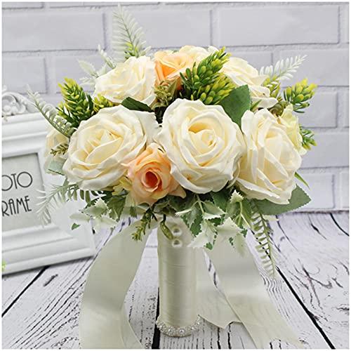 LNX Ramo de Flores Artificiales de Realista con florero,para Banquete de Boda,Ramo de Novia,Realista al Tacto