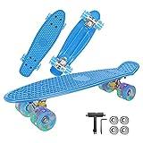 Skateboard Komplette, Penny Board 22 inch/55 cm Mini, Skateboard Kinder Retro mit ABEC-7 Kugellagern, LED-Lichträdern und All-In-One Skate T Tool, für Anfänger Kinder, Jugendliche-4 Kugellager (Blau)