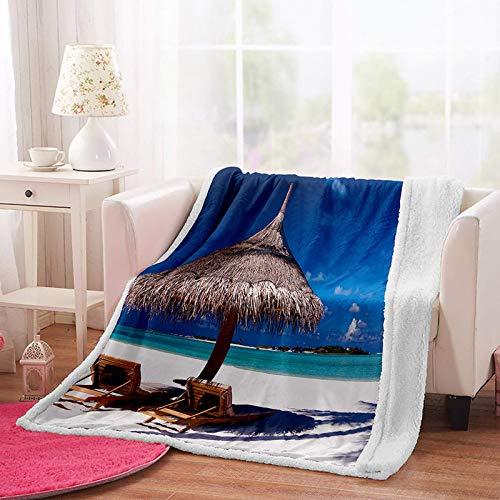MSFDC manta de tiro manta ponderada para sofás Azul mar playa mecedora W150xH200cm Microfibra para...