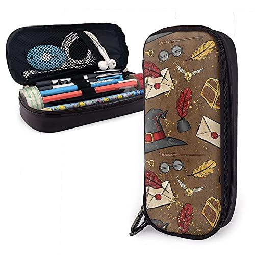 Vintage Magic Harry Broom Witch Potter, estuche de piel de dibujos animados para lápices de papelería, oficina, caja de almacenamiento portátil