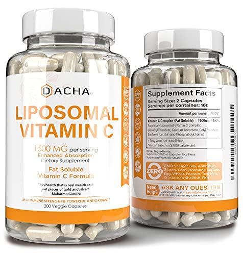 Natural Liposomal Vitamin C - 200 Capsules, 1500mg, Immune System & Collagen Booster, High Absorption Fat Soluble VIT C, Buffered, Anti Aging Skin Vitamins, Anti Inflammatory, Sunflower Lecithin
