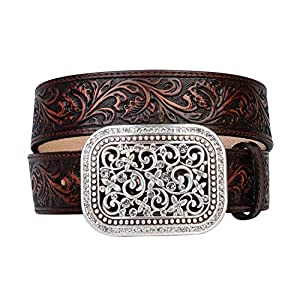 Ariat Women's Scroll Embossed Buckle Belt, brown, Extra Large