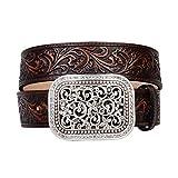 Ariat Women's Scroll Embossed Buckle Belt, brown, Medium