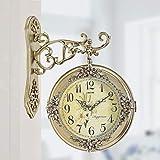HIGHKAS Reloj silencioso Tipo de hogar Restauración Maneras Antiguas Reloj de Pared Reloj de Doble Cara Personalidad con Pilas 16 Pulgadas
