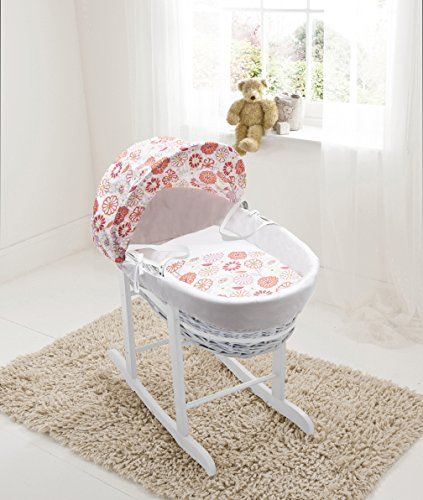 Funky Flowers White Wicker Moses Basket &Deluxe White Rocking Stand