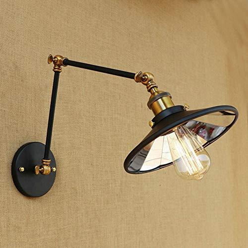 Tanktoyd Apliques de pared Lámparas de pared de brazo oscilante de luz de pared vintage con espejo de vidrio Lámparas de pared con pantalla de metal Lámpara de pared regulada de múltiples ángulos
