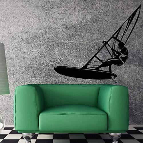 Calcomanías creativas windsurf windsurf agua deportes extremos decoración de pared única pegatinas de pared arte A2 46x42cm