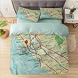 Microfiber Duvet Cover Set Californai King, Map,San Francisco Area Vintage, Bedding Sets with Soft Lightweight Microfiber 1 Duvet Cover and 2 Pillow Shams