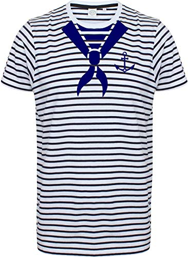 Sailors T-shirt met zeildoek maat S - 3XL voor viering JGA Bike Tour Vaderdag X-Large Gestreept