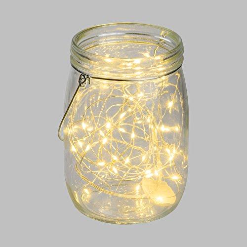 Pot en verre transparent avec lumière Ø11 x h 15,5 cm, 40 MicroLED blanc chaud à pile