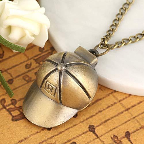 Zyzed taschenuhr Exquisite hutform Design Quarz taschenuhrkleinegröße anhänger Uhr für männer Frauen Bronze Halskette Kette, Bronze