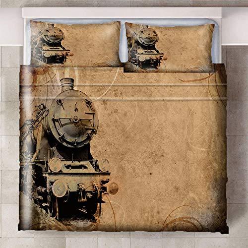 Teqoasiy - 3D Modelo De La Impresión Tren Amarillo Creativo 240x220cm Duvet Cover Set - Suave Microfibra 3Piece El Sistema del Lecho Funda Nórdica - Suave Hipoalergénica con 2 Fundas De Almohada