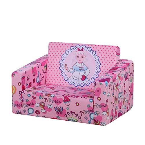 Kid Sofa Chair, Children's 2 in 1 Flip Open Foam Sofa bed for Ideal Kid Birthday Gift (PINK)
