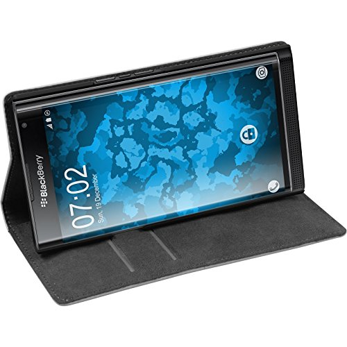 PhoneNatic Kunst-Lederhülle kompatibel mit BlackBerry Priv - Book-Hülle weiß + 2 Schutzfolien