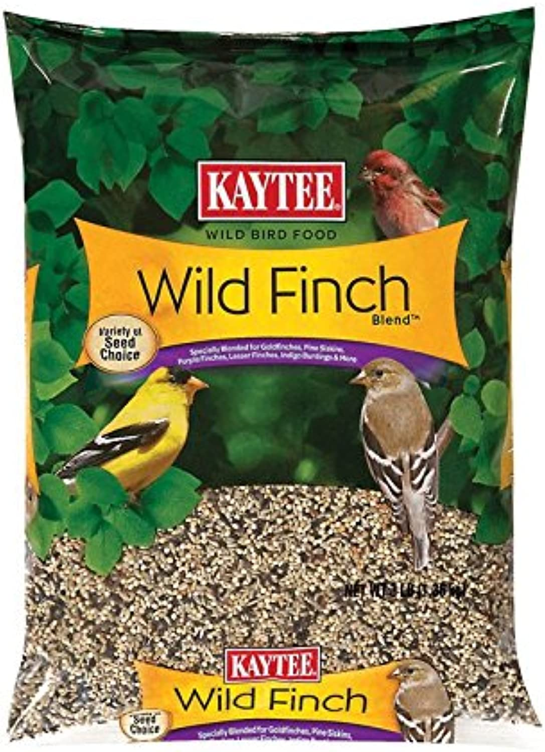 Kaytee Wild Finch Food Canary Grass Seed,Flax Seed,Red Millet,White Millet,Yellow Millet 3 Lbs.