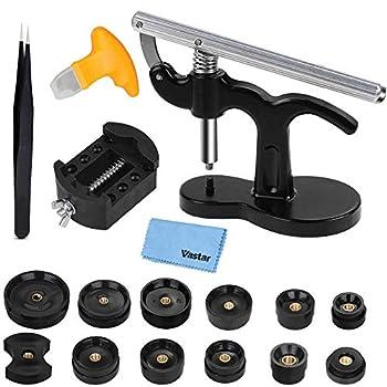 Vastar 18 Pcs Watch Press - Watch Repair Kit Watch Back Case Closer Watch Battery Replacement Tool Kit with 12 Dies Tweezers