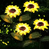 ✿Vibrant and realistic Solar Sunflower: The sunflower and leaves of this solar lights outdoor garden made with vivid details, they look realistic in daylight from far away, the vibrant yellow color bring you summer's energy, it's a great addition to ...