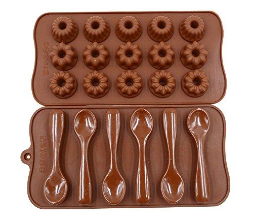 Qpower 2 moldes de silicona para decoración de chocolate, para hornear, cuchara, flores, forma de pasteles, fondant