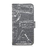 [FFANY] Y!mobile Android One S2 用 PU手帳型 カードタイプ スマホケース [デニム風・白スタンプ] トラベル Visa パスポート ビンテージ ワイモバイル アンドロイド SIMフリー スマホカバー 携帯ケース スタンド denim 00n_100@04c