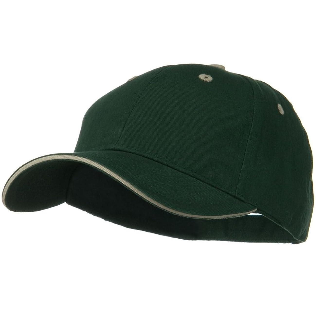 OTTO Solid Brushed Twill Sandwich Visor Cap - Dark Green Khaki