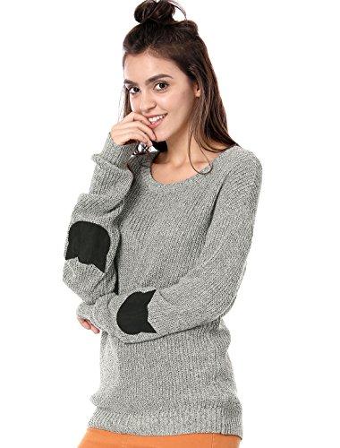 Allegra K Women's Elbow Patch Long Sleeve Cat Sweaters Drop Shoulder Pullover Jumper Large Gray