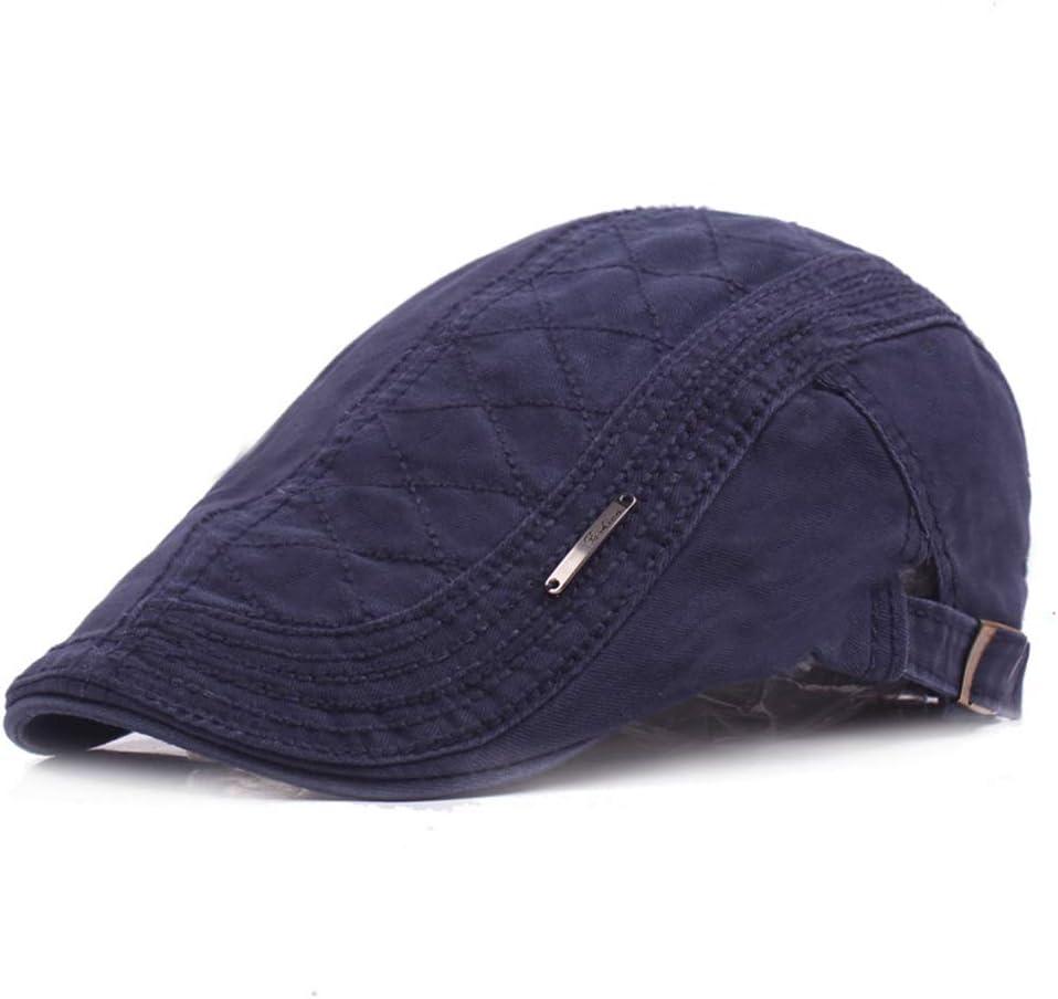 Hat Unisex Cotton Vintage Breathable Beret Cap Flat Peaked Autumn Hat Adjustable Visor for Men Women Accessories (Color : Navy)