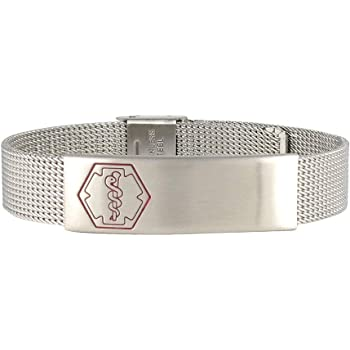 AMERICAN MEDICAL ID – Sleek Mesh Medical Alert ID Bracelet – Surgical Stainless Steel, Adjustable ID Band Sizing & Clasp, 4 Lines Personalized Engraving Included